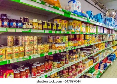 PESO DA REGUA, PORTUGAL - JUNE 9, 2016: Interior of the supermarket in Peso da Regua. Peso da Regua, commonly known as Regua, is a municipality in northern Portugal, in the district of Vila Real.