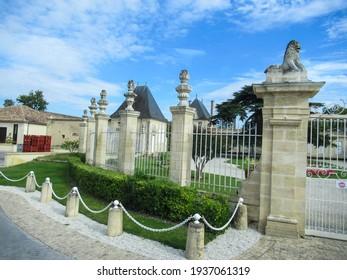 Pessac, Bordeaux, France - Oct 2019:  Chateau Haut-Brion winery.