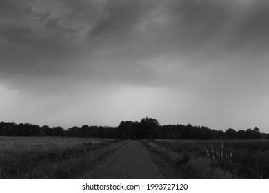 Pesse, Netherlands- July 18, 2021: Threatening clouds over the Boerenveensche Plassen, the Netherlands