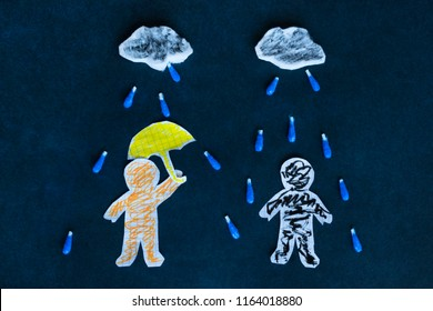 Pessimism and optimism concept, paper men under the rainy sky on he dark background.