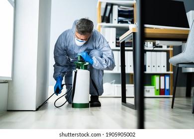 Pest Control Exterminator Man Spraying Termite Pesticide In Office