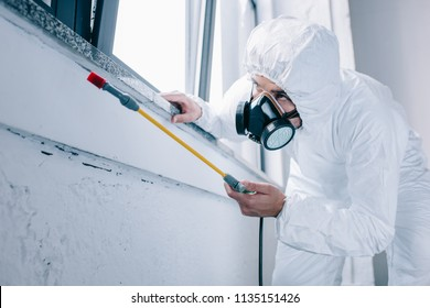 pest control worker spraying pesticides under windowsill at home