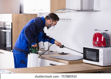 Pest Control Worker In Uniform Spraying Pesticide With Sprayer In Kitchen