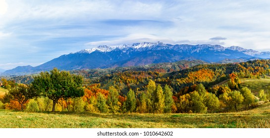 Pestera village,Brasov,Romania: Autumn landscape of the Bucegi mountains in the autumn collors