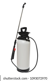 Pesticide, herbicide sprayer for working in the garden and vegetable garden isolated on a white background. Manual, for the destruction of pests and insects