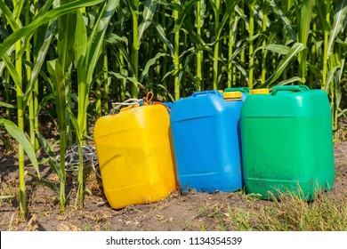 Pesticides in colored jerry cans at corn field with plants