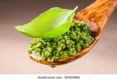 Pesto with basil sauce.Italian cuisine.