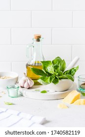 Pesto Ingredients: Fresh Basil, Pine Nuts, Olive Oil and Cheese, copy space for your text