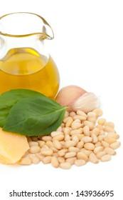 pesto ingredients isolated on white background