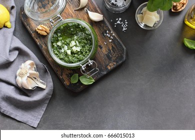 Pesto. Ingredients for making of pesto sauce. Selective focus