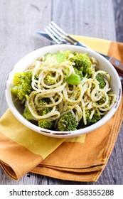 Pesto pasta with broccoli in a bowl