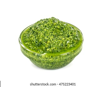 Pesto Sauce with Basil on White Background Studio Photo