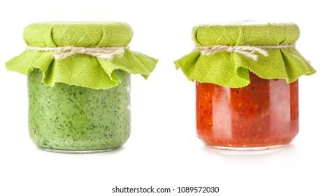 Pesto sauce isolated on white