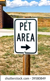 Pet Area sign at highway rest stop in rural America