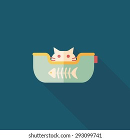 Pet bed flat icon with long shadow