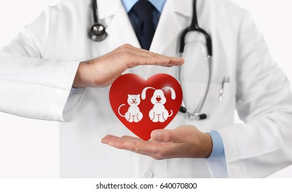 pet care concept veterinarian hands with animal and heart icons. Vet clinic
