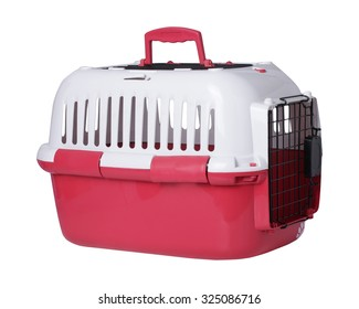 pet carrier isolated on white background. This has clipping path.