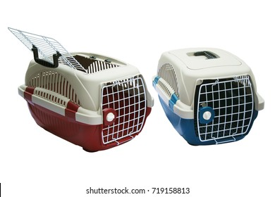 Pet carrier for move or travel animals on isolated.  About Concept transport pets