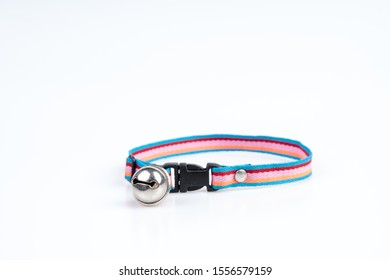 Pet collar with bell for dog and cat on white background