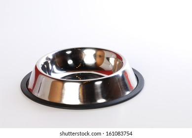 pet food bowl isolated on  white