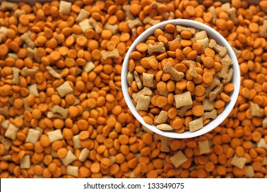 pet food in the dog dish with background of pet food out focus.