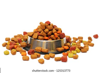 pet food in a silver bowl on a white background