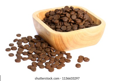 Pet food in wood bowl on white background