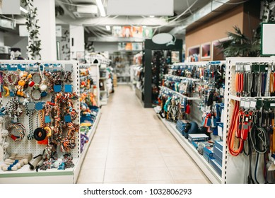 Pet shop interior, shelves with accessories