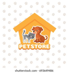 Pet store background with happy pets animals. Pets dog and cat, illustration of pet shop emblem