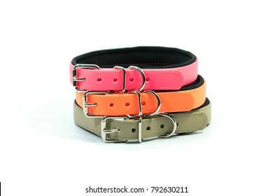 Pet supplies about rubber collars stack for pet on white background.