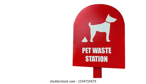 pet waste sign in isolate white background, cartello rosso su lamiera metallica indicante postazione raccolta escrementi animali domestici, su sfondo bianco