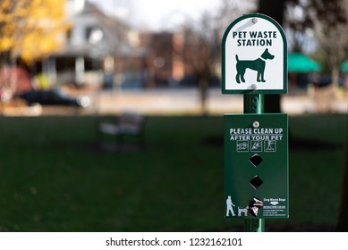 pet waste station in park