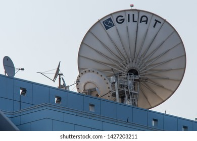 Petach Tikva, Israel. August 11, 2017. Satellite dishes above Gilat Satellite Networks corporate headquarters. Gilat develops and sells VSAT satellite ground stations and related equipment