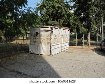 Petach Tikva, Israel - Oct 8, 2009: Exterior of Sukkah with decorated cloth walls in parking lot