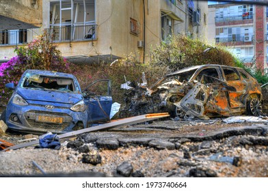 Petah Tikva, Tel Aviv, Israel May 14, 2021:  destruction, ruins and destroyed houses and cars due to rockets attack launched from Gaza during Operation Guardian of the Walls