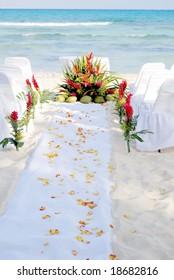 petal covered wedding aisle on a Mexican beach