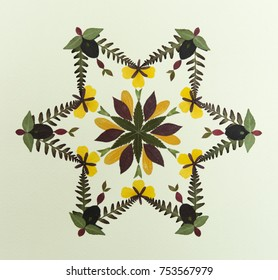 petal & pressed flower leaves mandala