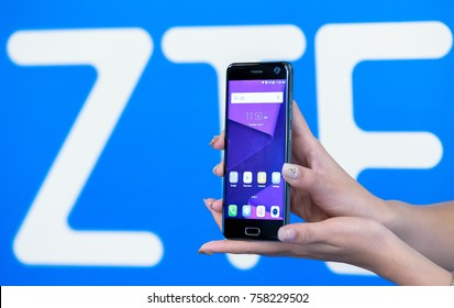 PETALING JAYA, MALAYSIA - APRIL,27 2017. Models hold the new ZTE Blade V8 during product launching.
