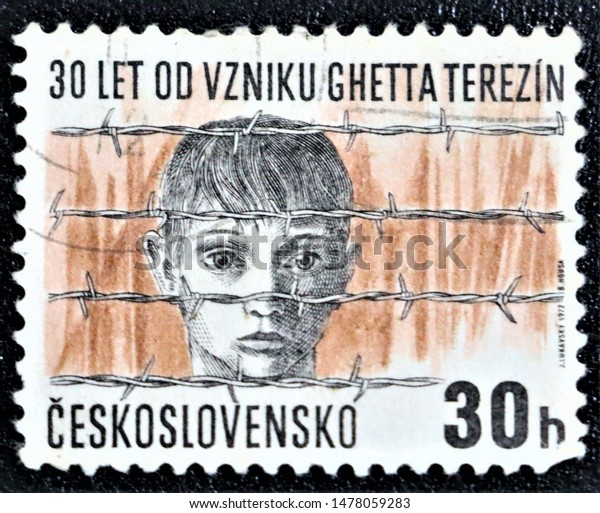 PETALING JAYA, MALAYSIA- AUG 2019: A STAMP PRINTED BY CZECHOSLOVAKIA SHOWING CONCENTRATION CAMP IN TEREZIN, 30h, B.MOUSA, CIRCA 1972