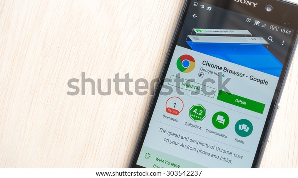 Petaling Jaya, Malaysia - Aug 6, 2015: Google Chrome Browser mobile app in Play Store on mobile phone. Google's Chrome for Android is an edition of Google Chrome released for the Android system