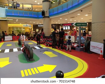 """PETALING JAYA,  MALAYSIA - AUGUST 23,2017 : The exhibition and sale of merchandise from the animated film """"Cars 3"""" by Pixar Animation Studio is now taking place at the Sunway Pyramid shopping mall."""