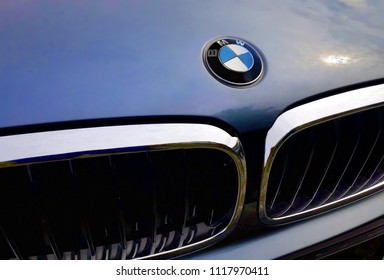 Petaling Jaya, Malaysia - June 15, 2018 :  BMW motor company logo on the front of a car. BMW is a German automotive company founded in 1916.