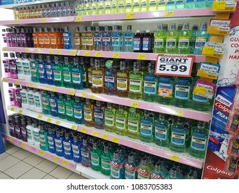 PETALING JAYA, MALAYSIA - MAY 2 2018 : Various of Listerine product displayed at supermarket.Listerine is an American brand of antiseptic mouthwash product, In supermarket at petaling jaya
