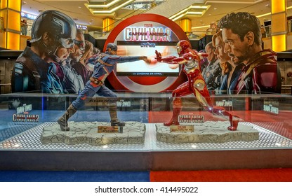 PETALING JAYA, MALAYSIA - MAY 2016 - Exhibition of Marvel Studio's new movie, Civil War, at Sunway Pyramid Shopping Centre. Characters' figurines, games, and other activities are being held here.
