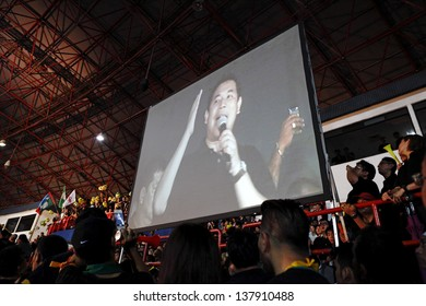 PETALING JAYA, MALAYSIA - MAY 8: Rafizi Ramli on a projector screen at a political rally against Malaysia 13th general election vote result on May 8, 2013 in Stadium MBPJ, Petaling Jaya, Malaysia.