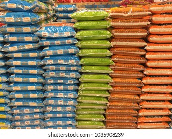 PETALING JAYA ,MALAYSIA on 28th  FEB 2018. Packets of rice are displayed neatly for slaes in AEON BIG SUPERMARKET.