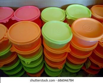 PETALING JAYA, SELANGOR 29TH JULY 2017, Colorful Tupperware plastic inside the box