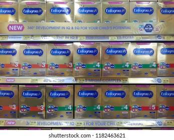 petaling jaya, selangor, malaysia - 18 September 2018 : ENFAGROW baby milk powder from mead johnson company stack on hypermarket shelf located in giant hypermarket, petaling jaya, selangor, malaysia