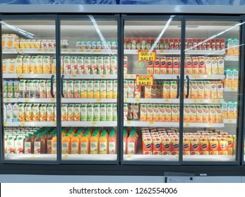 Petaling Jaya, Selangor, Malaysia - 19 December 2018 : Variety of Fresh fruit juice product in a chiller for sale