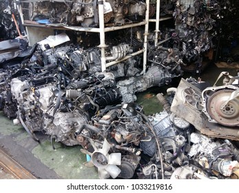 petaling jaya, selangor, malaysia -  february 26th 2018 : used car engines and car parts being sold as a scrap or half cut at PJ5 auta car parts located in petaling jaya, selangor, malaysia.